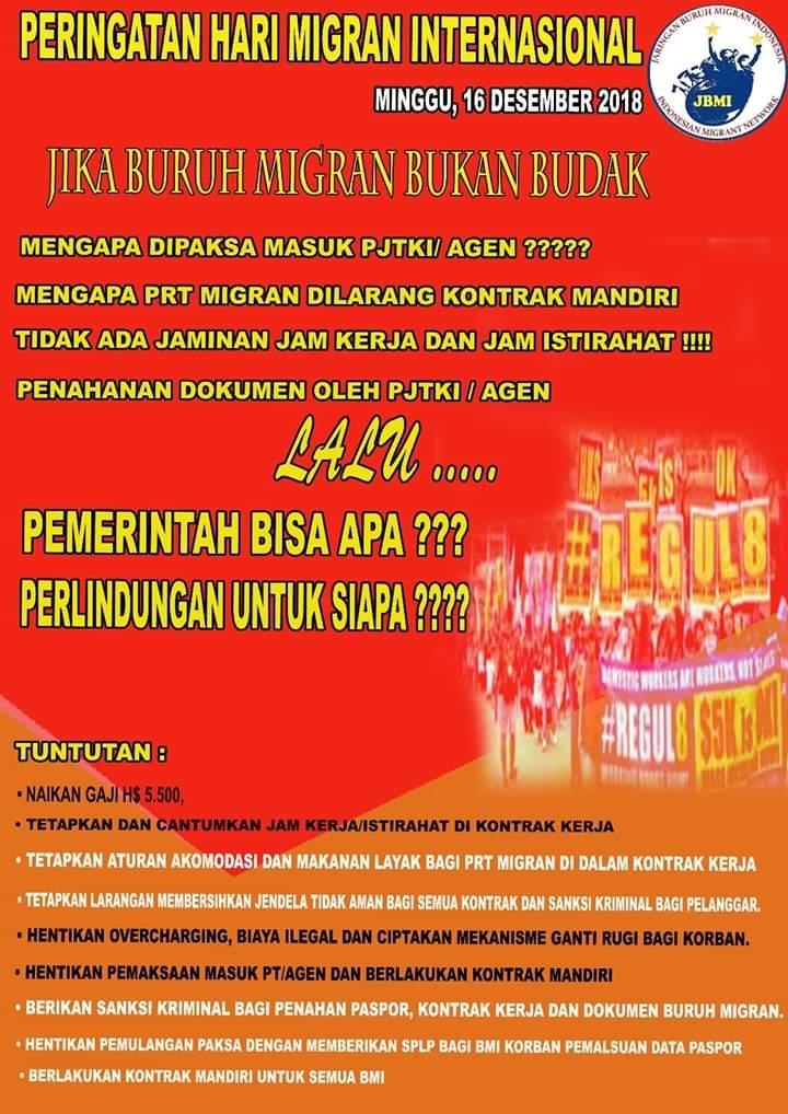 Pernyataan Sikap Jaringan Buruh Migran Indonesia (JBMI) Pada Peringatan Hari Migran Internasional ke-28