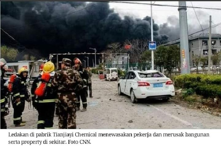 Pabrik kimia di Cina meledak, 78 orang meninggal dunia, lebih dari 600 lainnya terluka