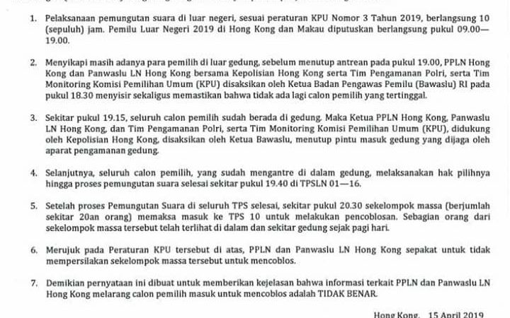 Klasifikasi dari PPLN tentang peserta pemilu yang tidak bisa mencoblos Minggu, 14 April 2019